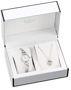 Bulova Women's 96X122 Bracelet Watch and Pendant Set