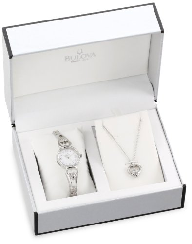 Bulova Womens 96X122 Bracelet Watch and Pendant Set
