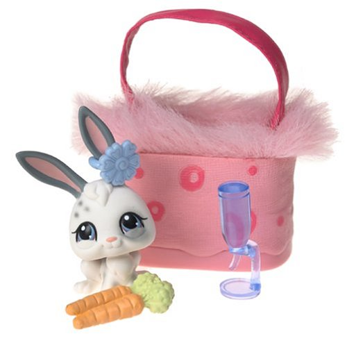 Buy Low Price Hasbro Littlest Pet Shop Pets On The Go Figure White Bunny with Pink Carry Case (B0002VO44U)