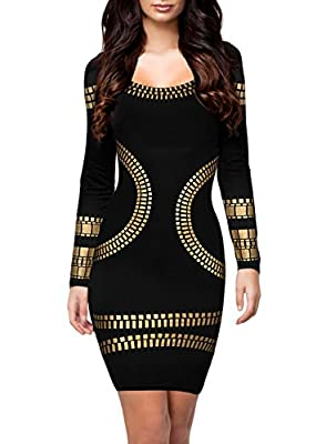 Walume Women's Cut out Long Sleeves Golden Foil Print Cocktail Pencil Dress