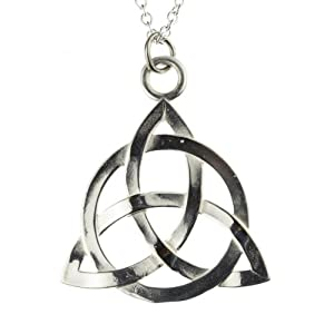 Triquetra Silver Dipped Pendant Necklace on Rolo Chain