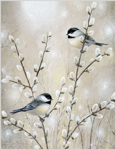 Gina B. Designs Chickadees and Willows Boxed Blank Note Cards-- Set of 8