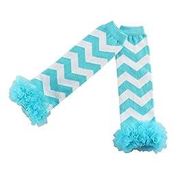 Wennikids Chevron Zig Zag Toddler Infant Baby Sweet Ruffle Leggings/leggies/leg Warmers (Turquoise)