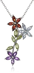 Sterling Silver, Garnet, Citrine, Peridot, Amethyst and Blue Topaz Pendant Necklace, 18""