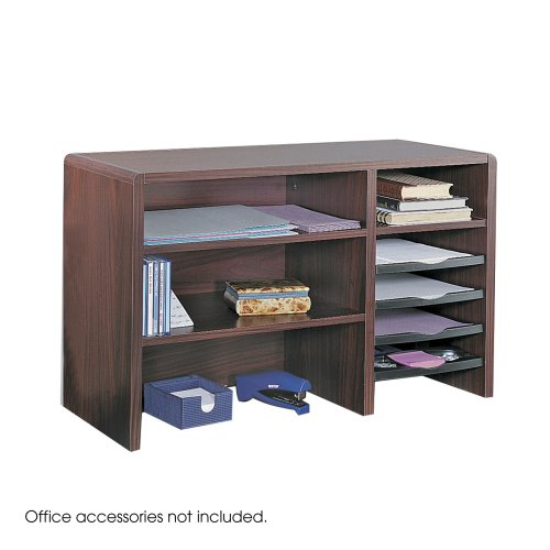 """Safco Products 29"""" Wide Compact Desktop Organizer, Mahogany, 3692Mh front-690696"""