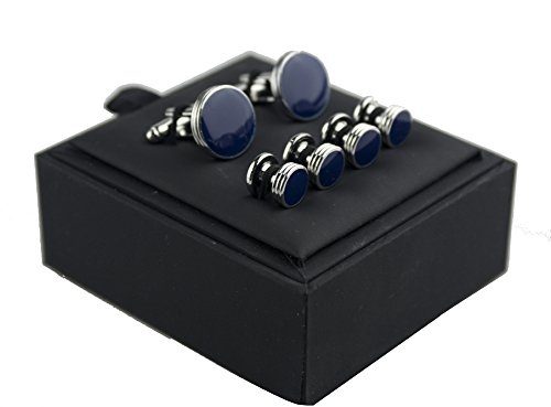 Salutto men 39 s cufflinks and studs set for formal french for Can you wear cufflinks on a regular shirt