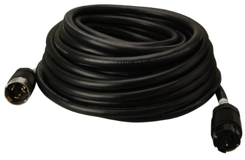 Coleman Cable 01918 50-Amp Twist-Lock Generator Power Extension Cord, 6/3 & 8/1 SEOW Black, 50-Feet