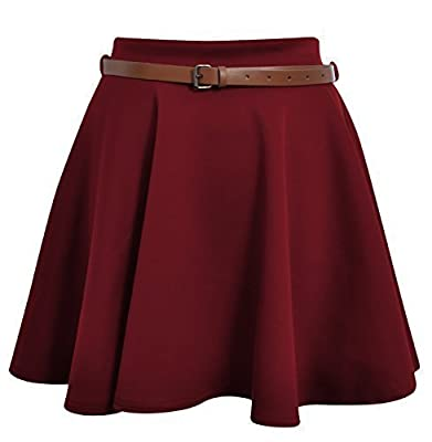 Ditzy Fashion Women's Belted Skater Flared Plain Mini Party Skirt, Wine Red
