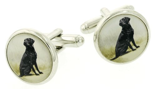 JJ Weston silver plated cufflinks with black labrador image. Made in the USA