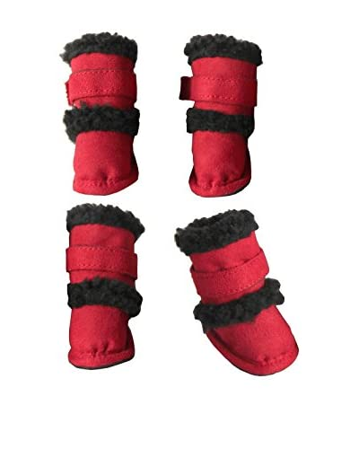 Pet Life Duggz Snuggly Faux Shearling Dog Boots, Red/Black, Small