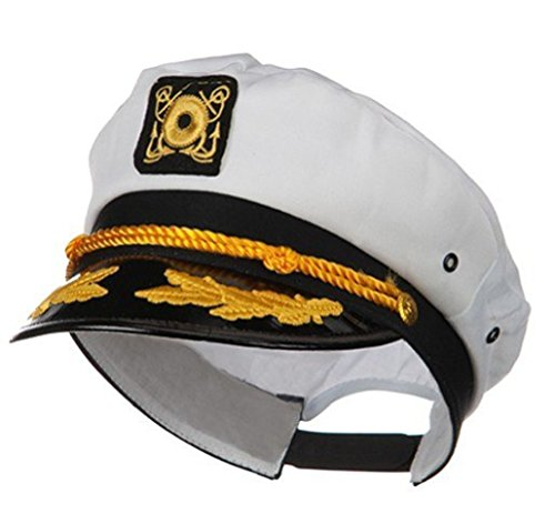 Kangaroo Adult Captain's Yacht Cap, White, Adjustable