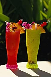 Wallmonkeys WM29712 Two Tall Cold Tropical Drinks Garnished with Fruit and Flowers Peel and Stick Wall Decals (18 in H x 12 in W)