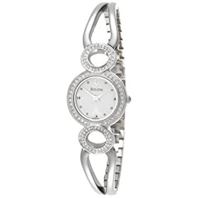 Bulova Women's Crystal Pendant and Bangle Watch Boxed Set White Pearlized Dial Watch #96X003
