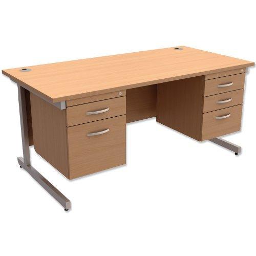 Brand New. Trexus contract scrivania rettangolare con doppio piedistallo argento gambe W1600x D800x H725MM beech