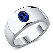 buy 1.64 Ct Oval Blue Simulated Sapphire 925 Sterling Silver Men'S Ring