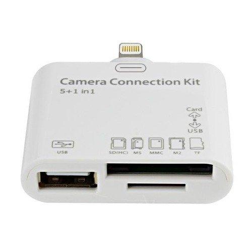 5 en 1 Puerto de conexiones para ipad 3, mini ipad, generación HD y Ipad 4 con Retina Display 4ª Generación - conector lightning| - Camara connection kit | para conectar desde su iPad 3 , Ordenador portátil, Cámara fotográfica, Teclados, Ratón y Lector de tarjetas de memorias (Micro SD, SD Card)| compatible con iOS 6