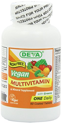 Deva Vegan Multivitamin and Mineral Supplement with Iron Free -- 90 Tablets (Yeast Free Multivitamin compare prices)