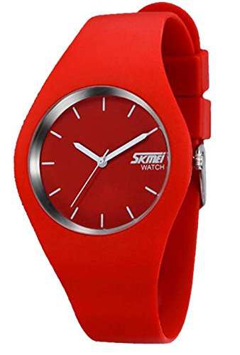 Nimble House Nimble House Analog Silicone Band Quartz Red Dial Watch for Women