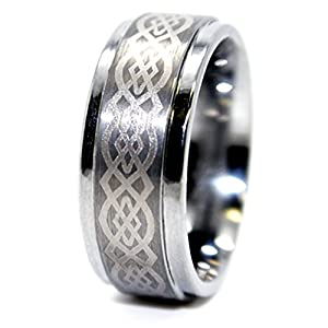 9mm Celtic Knot Tungsten Carbide Wedding Ring (US Sizes 4