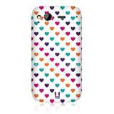 Ecell - HEAD CASE PINK & PURPLE MULTI-COLOURED HEARTS GLOSSY BACK CASE FOR HTC DESIRE S