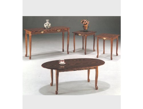 4-pc Queen Anne Cocktail Table with Sofa Table in Oak Finish ADS4005a-oak,4005sf/oak