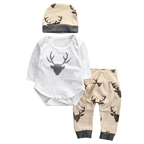 Gotd 3pc Newborn Baby Boys Girl Elk Romper Tops Bodysuit Pants Hat Clothes (18-24 Months, White)