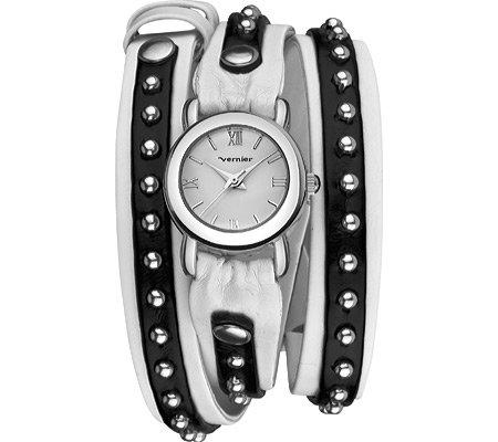 Vernier Women'S Vnr11117Ss Silver Triple Wrap Studded Leather Watch