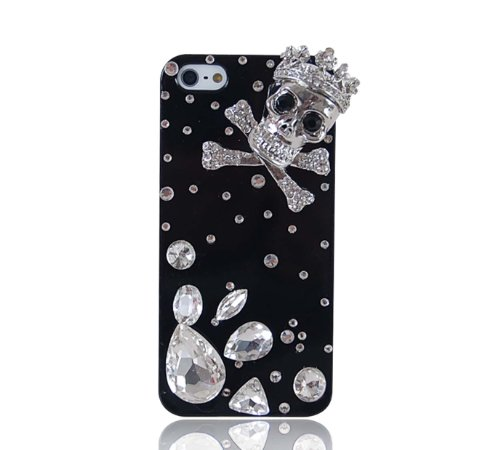 Winkbl ® Handmade Skull Series 3D Shining Bling Crystal Diamond Iphone Case Cover For Iphone 5/5S (Skull Crown And Big Diamonds)