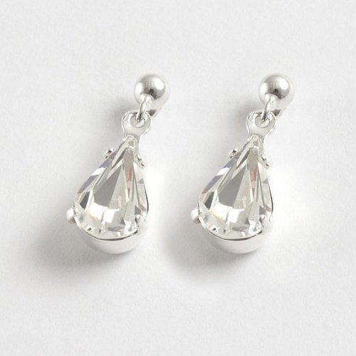Lj Designs Single Diamante 'Tear' Drop Earrings (E13) - Swarovski Crystal - Gold Or Silver Finish