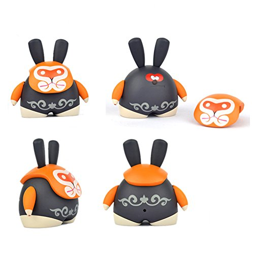 iNewcow MASK BEAR Peking Opera Mask Cute Originality Dolls Car Decorations Birthday Gift For Kids 6*5.5*3.8CM (Orange LiLie) - 1
