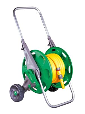 Hozelock Hose Trolley 60m Drum with 25 m Hose and Basic Equipment