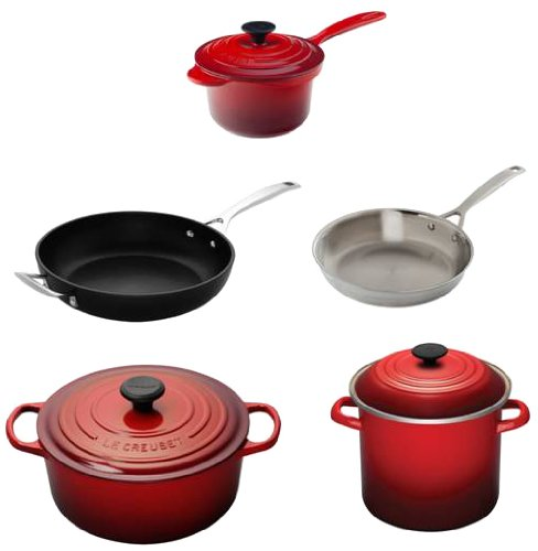 le creuset 8 piece ultimate cookware set cherry. Black Bedroom Furniture Sets. Home Design Ideas