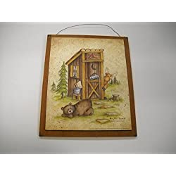Still Waiting Bear Moose Country Bath Outhouse Lodge Cabin Sign Wooden Bathroom Wall Signs
