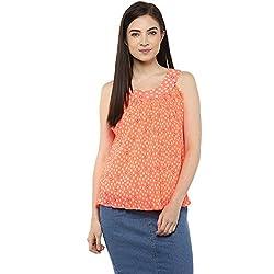 Orange Printed Pleated Top - Women Casual Wear