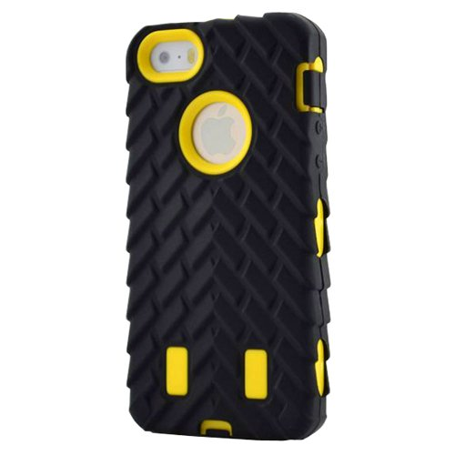 Meaci® Iphone 5C Case 3In1 Tire Stripe Combo Hybrid Defender High Impact Body Armorbox Hard Pc&Silicone Case (Yellow)