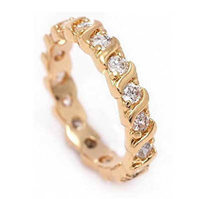 Simply Glamorous Jewellery And Gifts Shop - 18ct Gold Filled Full Eternity Ring Simulated Diamond