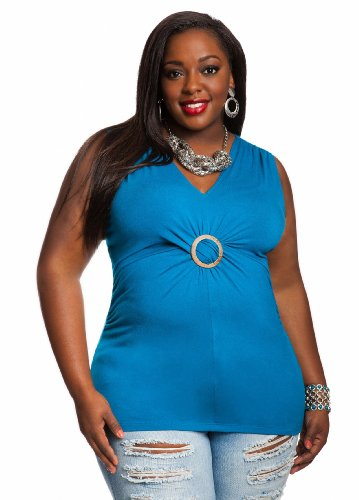 Ashley Stewart Women's Plus Size Ring Twist Top Fjord Blue 14/16 Picture