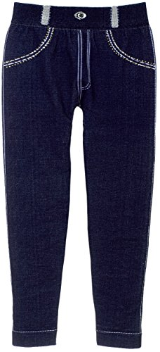 Big Girl's Stretch Fit Jeggings with Realistic Denim Look & Texture (Dark Blue)