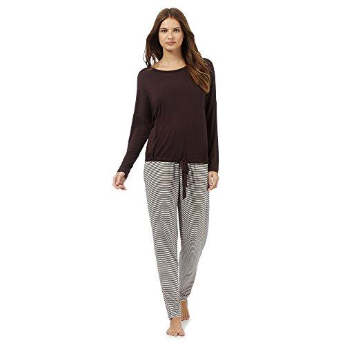 j-by-jasper-conran-womens-brown-plain-and-striped-two-piece-pyjama-set-12