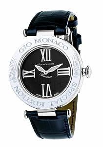 Gio Monaco Women's 777A-F Mandolino Black Dial Musical Leather Diamond Watch