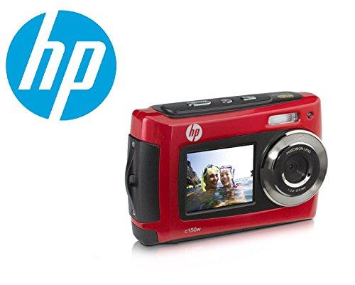 Compact-macchina-fotografica-subacquea-impermeabile-selfie-digitale-HP-C150W-16-Megapixel-2-schermi-27-e-18-4x-zoom-batterie-AAA-incluse-rosso