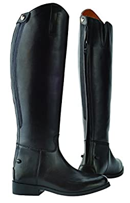 SAXON EQUILEATHER FIELD BOOTS WITH ELASTIC BLACK LADIES 4 REGULAR