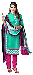 Swaman Green Pink Chanderi Dress Material