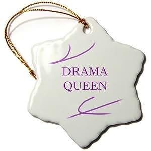 3drose Drama Queen Snowflake Porcelain Ornament, 3-Inch
