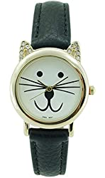 Women's Designer Inspired Cat Watch CZ Crystal Cat Ears Black Faux Leather Band