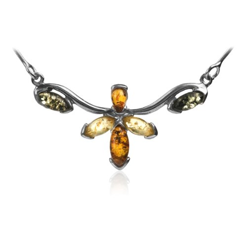 Sterling Silver Multi-color Amber Floral Necklace
