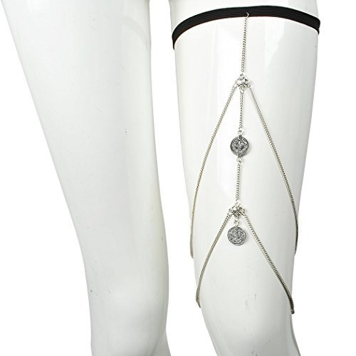 Jane Stone Fashion Bohemian Garter Leg Chain Gypsy Spirit Thigh Chain Tribal Sexy Body Jewelry for Women