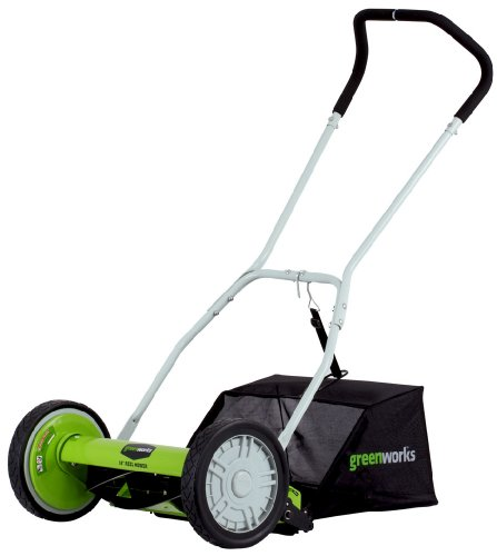 GreenWorks 25052 16-Inch 5-Blade Push Reel Lawn Mower With Grass Catcher
