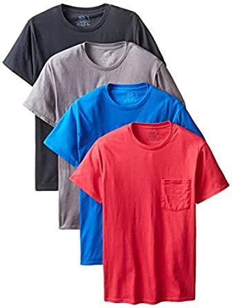 Fruit of the Loom Men's 4-Pack Pocket Crew Neck T-Shirt - Colors May Vary, Assorted,Medium