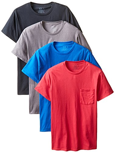Fruit-of-the-Loom-Mens-4-Pack-Pocket-Crew-Neck-T-Shirt-Colors-May-Vary